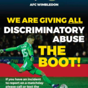 AFCW giving discriminatory abuse the boot poster