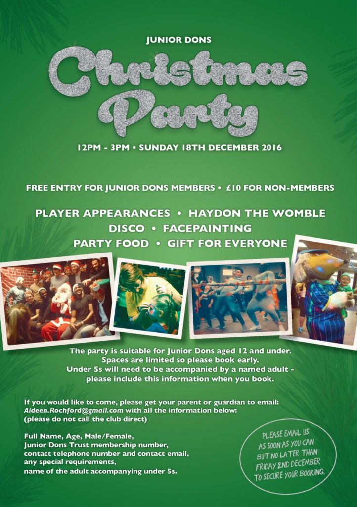 Junior Dons Christmas Party advert