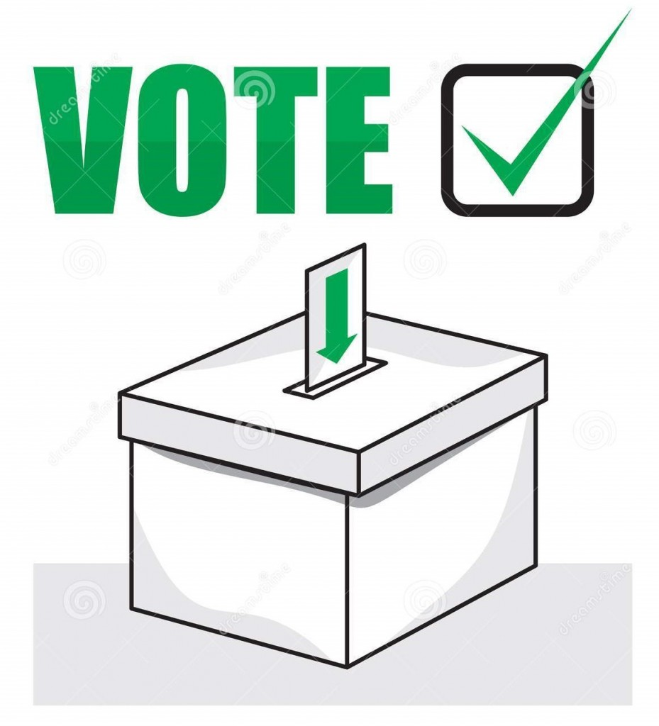A graphic of a ballot box with 'Vote' written above it