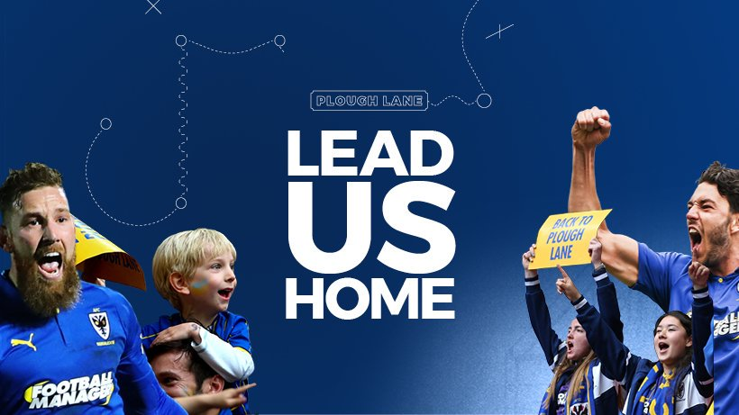 Celebrating AFC Wimbledon players and supporters either side of a text caption that says 'Lead us home'