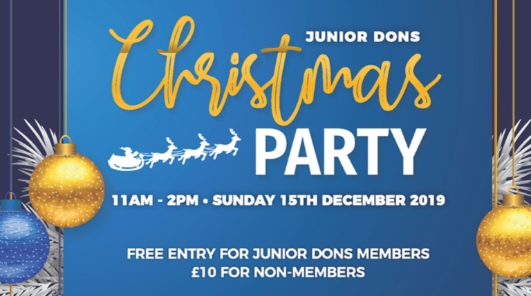 Junior Dons Christmas party banner