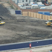 Construction machinery parked on the new stadium site