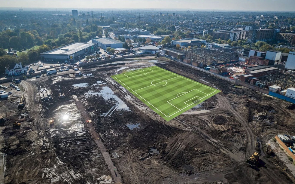 A computer-generated image showing the location of the pitch at the new stadium